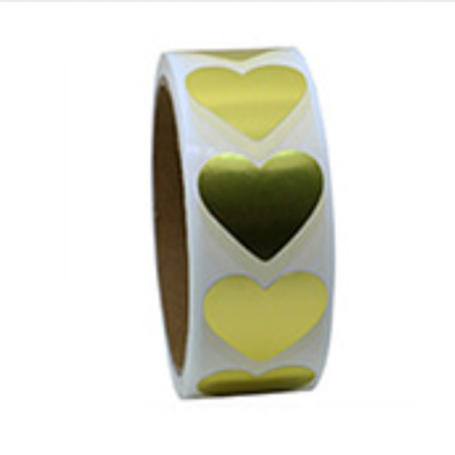 Medium Gold Heart Sticker - 20 pieces