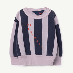 [12,18m]Bear Baby Sweatshirt (Purple navy Stripes)