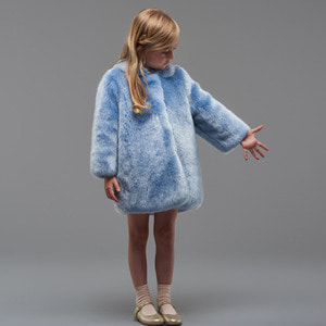 (4y)Faux Fur Coat (powder blue)